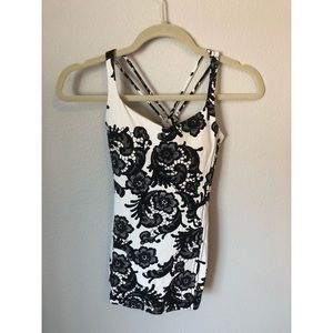 Free to Be Tank Laceoflage Black White Floral Top